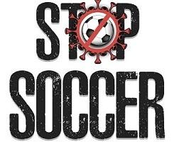 Stop soccer. Coronavirus sign with soccer ball